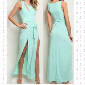 Mint color maxi dress with slits